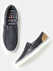Mast & Harbour Men Navy Perforated Slip-Ons