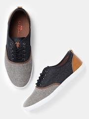 Mast & Harbour Men Navy & Brown Colourblocked Sneakers