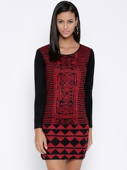 Global Desi Black & Red Patterned Sheath Dress