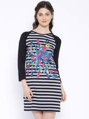 Global Desi Black & Grey Striped Shift Dress