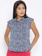 Wrangler Blue Printed Shirt