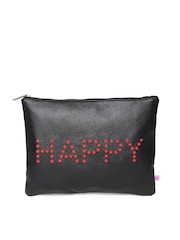 United Colors of Benetton Black Text Cut-Out Clutch
