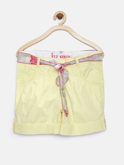 612 League Girls Yellow Pleated Shorts with Belt