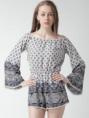 FOREVER 21 Off-White & Blue Printed Off-Shoulder Playsuit