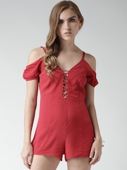 FOREVER 21 Red Cold Shoulder Playsuit