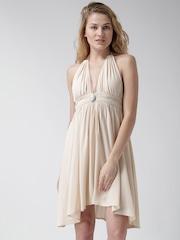 FOREVER 21 Beige Halter-Neck Crinkled Tailored Dress