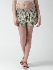 FOREVER 21 Beige & Green Linen Leaf Print Shorts