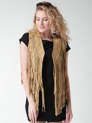 FOREVER 21 Camel Brown Leather Jacket with Fringes