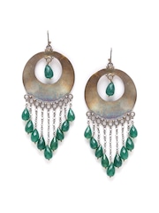SANGEETA BOOCHRA Antique Gold-Toned & Green Handcrafted Silver Drop Earrings