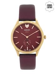 Swiss Eagle Women Burgundy Dial Watch SE-9085LS-RG-08