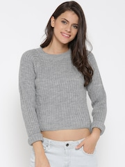 DressBerry Women Grey Ribbed High-Low Sweater
