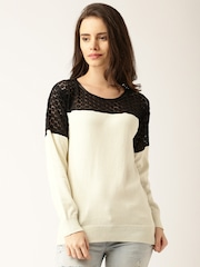 DressBerry Women Off-White Colourblock Sweater