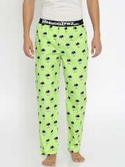 Smugglerz Men Green Printed Pyjamas FACES 3
