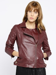 All About You from Deepika Padukone Burgundy Biker Jacket