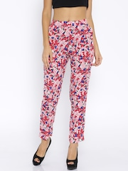 Honey by Pantaloons Pink Floral Print Polyester Trousers