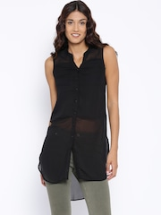 SF JEANS by Pantaloons Black Sheer Tunic
