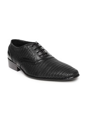 Egoss Men Black Leather Semiformal Shoes