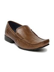 Egoss Men Brown Leather Semiformal Slip-Ons