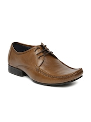 Egoss Men Brown Leather Derby Shoes