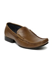 Egoss Men Tan Brown Leather Semiformal Slip-Ons