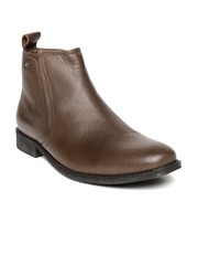 Egoss Men Brown Leather Boots