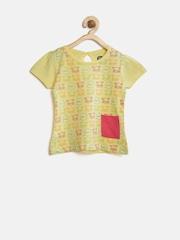 YK Baby Girls Yellow Printed Top