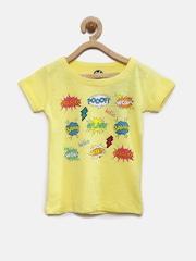 YK Girls Yellow Printed T-Shirt
