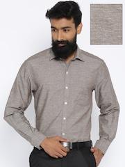 John Players Beige Linen Formal Shirt