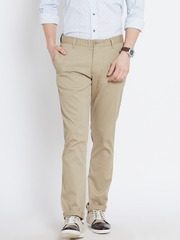 John Players Beige Slim Casual Trousers