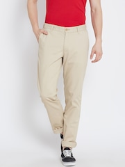 John Players Beige Slim Casual Trousers