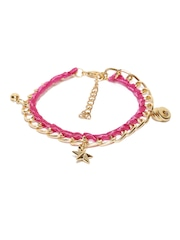 ToniQ Gold-Toned & Pink Anklet