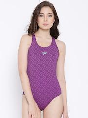 Speedo Purple & Navy Printed Swimsuit 8088448570