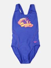 Speedo Girls Blue Printed Splashback Swimsuit 807889A734
