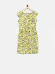 Allen Solly Girls Yellow & Lavender Printed A-Line Dress