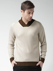 Mast & Harbour Men Beige Self-Design Sweater