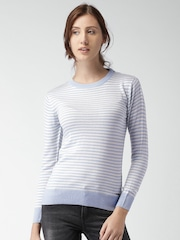Mast & Harbour Women Blue & Off-White Striped Sweater