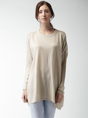 Mast & Harbour Women Beige Solid Oversized Sweater