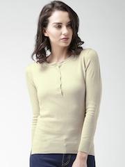 Mast & Harbour Women Beige Solid Sweater