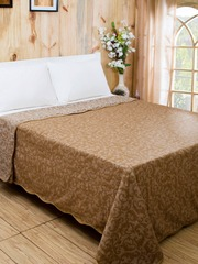 MASPAR Brown Cotton & Polyester Woven Double Bed Cover