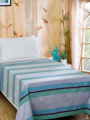 MASPAR Grey & Blue Viscose & Cotton Striped Single Bed Cover