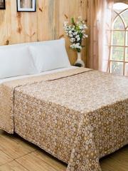 MASPAR Brown Cotton & Viscose Woven Double Bed Cover