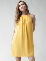 Metersbonwe Yellow Polyester A-Line Dress