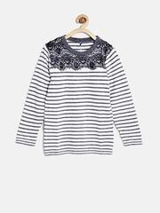 YK Girls White & Navy Striped Sweater