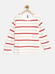 YK Girls Off-White & Red Striped Sweater