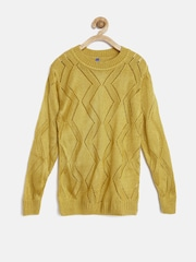 YK Girls Mustard Yellow Open-Knit Sweater