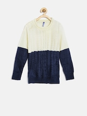 YK Girls Cream-Coloured & Navy Colourblocked Patterned Sweater