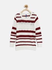 YK Girls Maroon & Off-White Striped Sweater