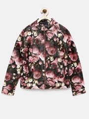YK Girls Black Floral Print Jacket