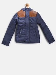 YK Boys Navy Hooded Puffer Jacket