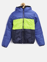 YK Boys Blue Colourblocked Hooded Puffer Jacket